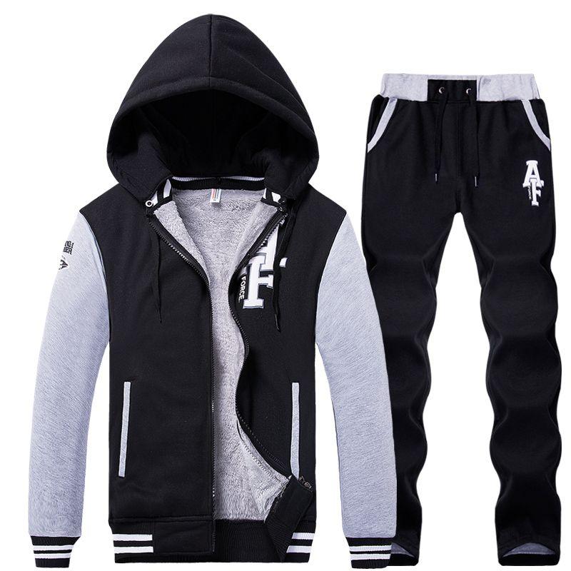 Men Set 2 Piece Hoodie & Pants Men Sport Set Suit Tracksuit Hooded Zipper Brand Hoodies Jacket Coat Sweatpants Sweatshirt Man