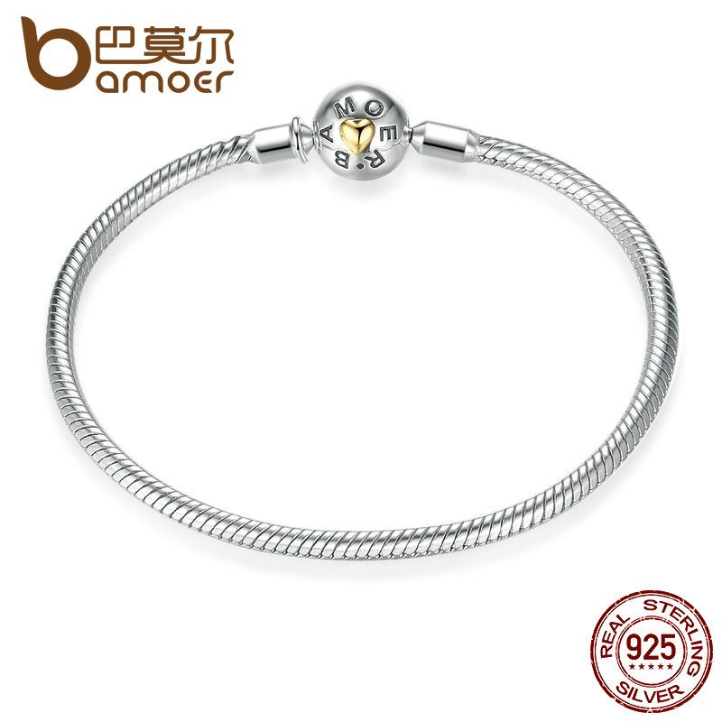 BAMOER Exclusive Snake Round Chain Bracelet Real 925 Sterling Silver DIY Fashion Jewelry 18CM 20CM SCB001