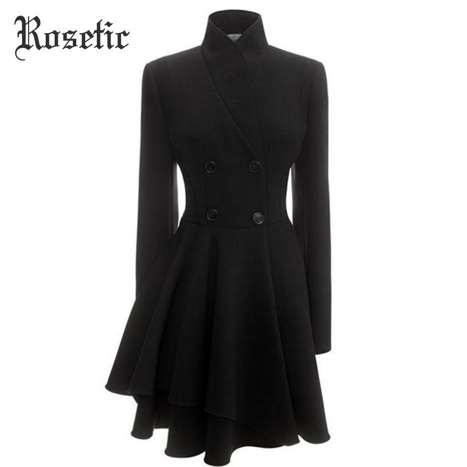 Rosetic Gothic Coat Black Autumn Asymmetric Women Trench Slim Overcoat Wave Cut Elegant Fashion Office Lady Sex Casual Goth Coat