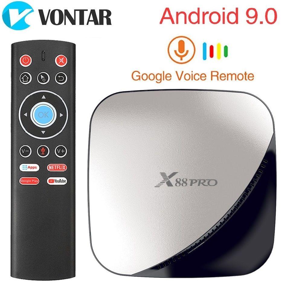 X88 PRO TV Box Android 9.0 4GB RAM 128GB 64GB 32GB Google Assistant vocal RK3318 Quad core Wifi 4K X88PRO 2GB 16GB décodeur