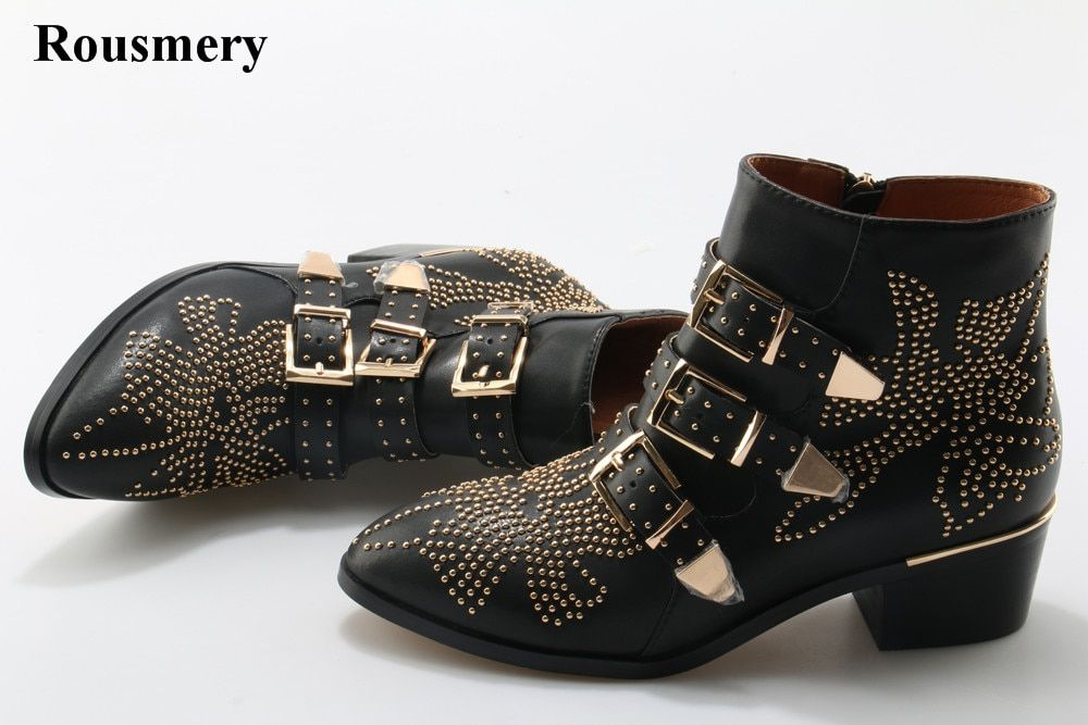 New Leather Rivets Booties Buckle Straps Thick Heel Ankle Boots Studded Decorated Motorcycle Boots Woman Riding Boots