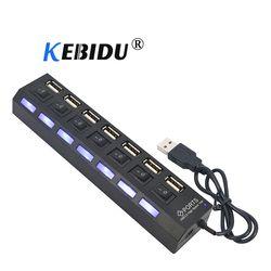 Kebidu 4/7 Port USB HUB USB 2.0 HUB Multi Usb Splitter dengan ON/OFF Switch 480 Mbps untuk Macbook PC Notebook Laptop untuk Windows