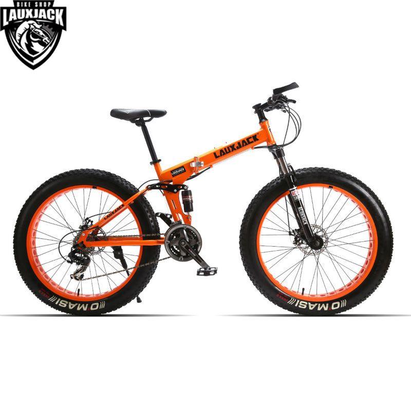 LAUXJACK vélo de montagne à Suspension complète en acier cadre pliable 24 vitesses Shimano frein mécanique 26