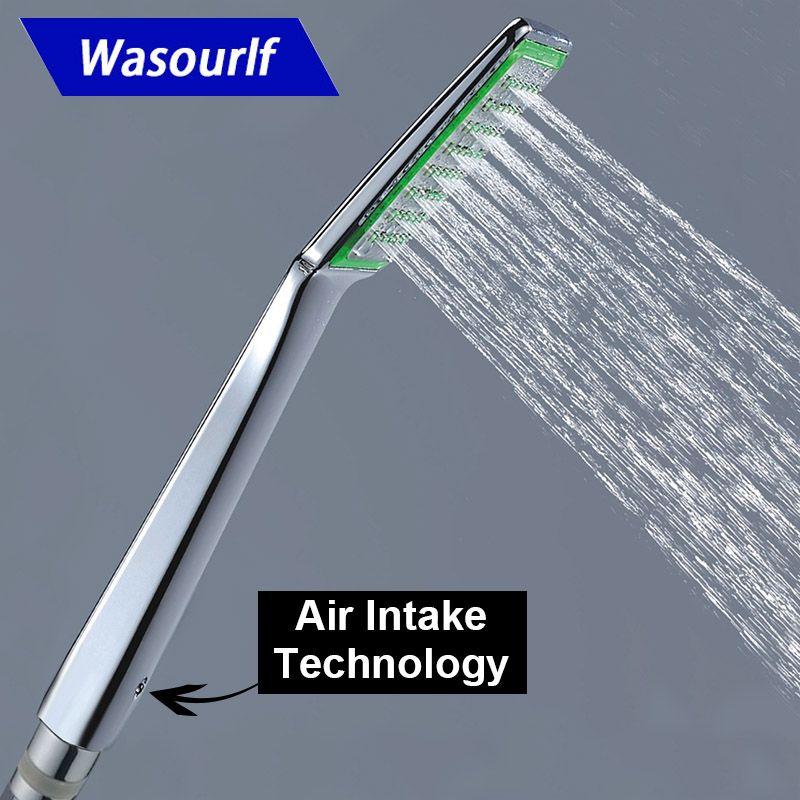 WASOURLF Air Trubo entrée salle de bains pommeau de douche à main hôtel pressurisé zHand douche économie d'eau en plastique ABS Chrome
