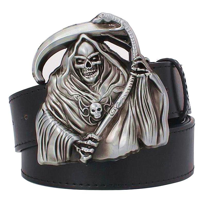 Men's Personality belt grim Reaper decorative belt punk skull style belt anime death style belts cool wizard women waistband