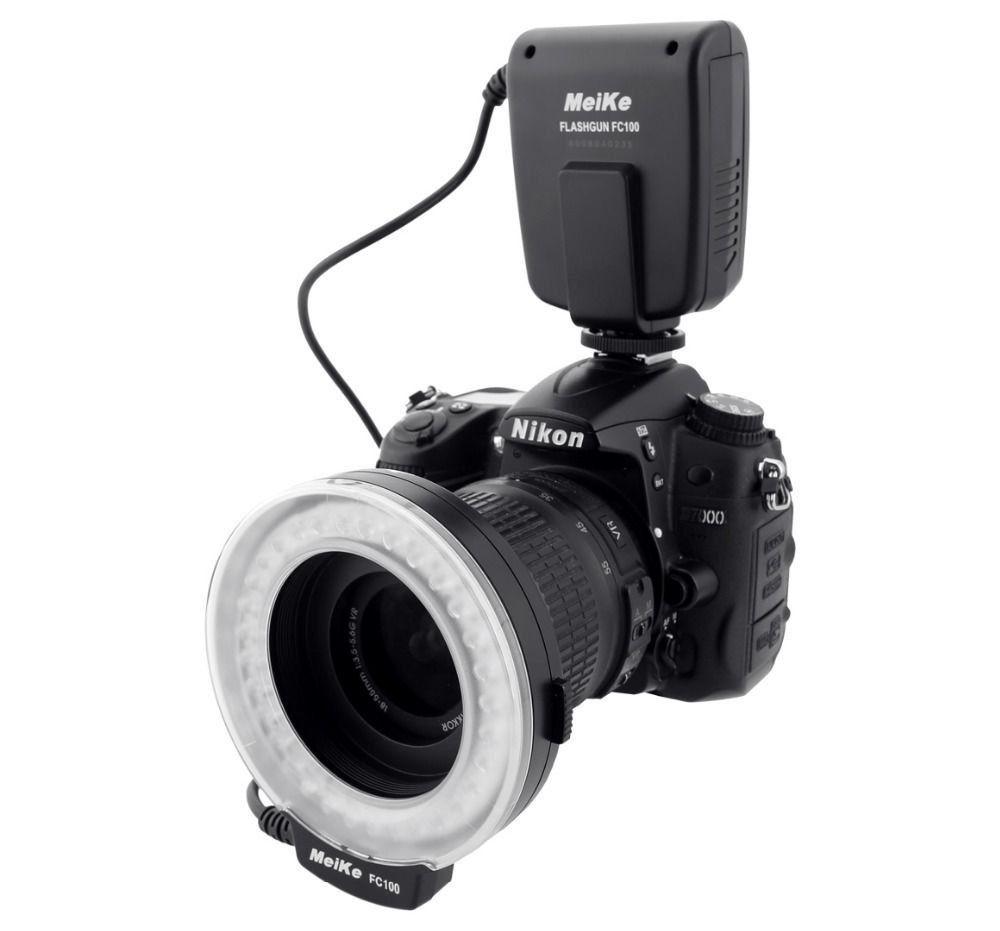 Meike FC-100 FC100 Manuel LED Macro Ring Flash Light avec 7 Adaptateur Anneau pour Canon Nikon Olympus Pentax REFLEX Numérique caméra