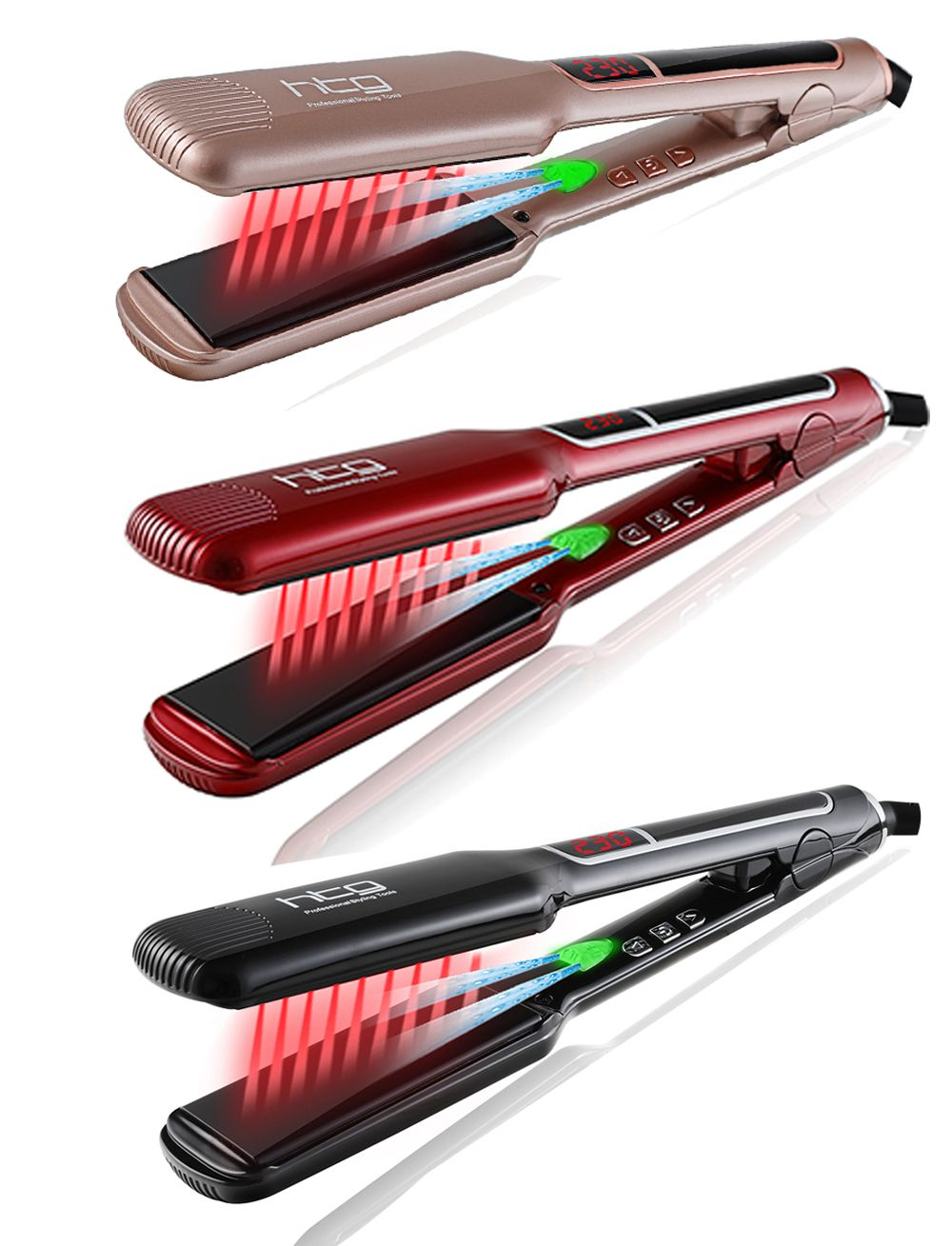 HTG Professional Hair Straightener Hair Flat Iron With Negative ION Infrared Hair Straightener Wide plates Hair Iron HT087L
