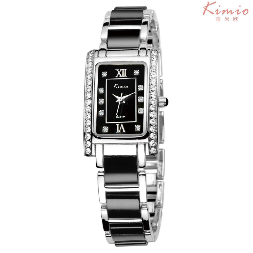 Модный Бренд KIMIO платье Для женщин часы-браслет для алмазной Керамика Нержавеющая сталь прямоугольник Повседневные Часы Relogio feminino