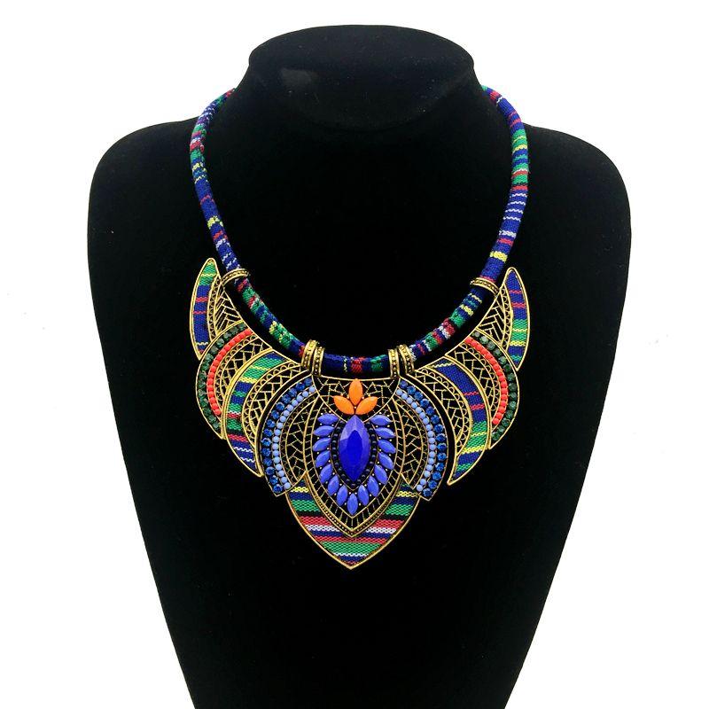 Vintage bohemia necklace for women 2018 big marine blue ethnic collar female statement boho jewelry maxi tribal pendants BLUE