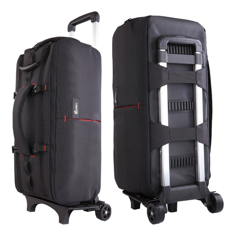 Photo Camera Nylon Shoulders Backpack Trolley Case Thick Padded Tripod Case Waterproof for Canon Nikon DSLR Long Lenses VD113V