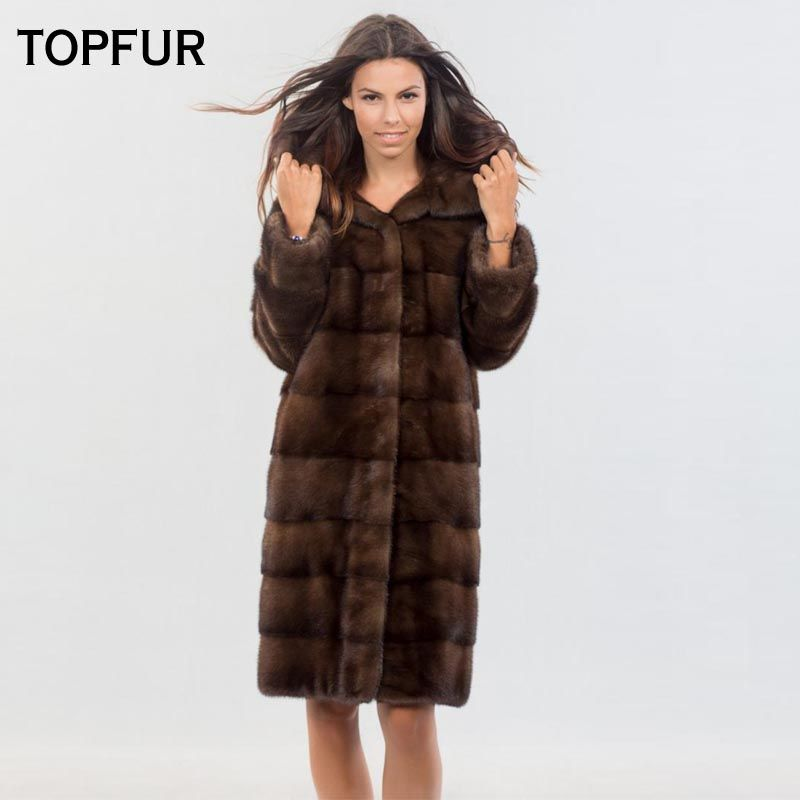 TOPFUR 2018 New Coming Real Mink Fur Coats With Big Hood Slim Brown Long Type Mink Fur Coat Luxury Fashion Fur Outwear Hot Sell