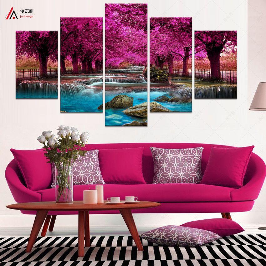 Salon 5 pour Panneau Peinture Murale Art Cascade Toile Peinture Modulaire Image Affiches et Estampes Cuadros Peintures F1867