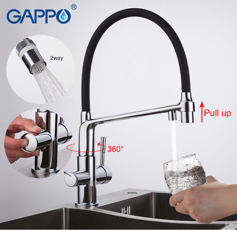 GAPPO kitchen faucet with filtered water black kitchen sink faucets water sink crane tap water mixer crane Torneira Cozinha