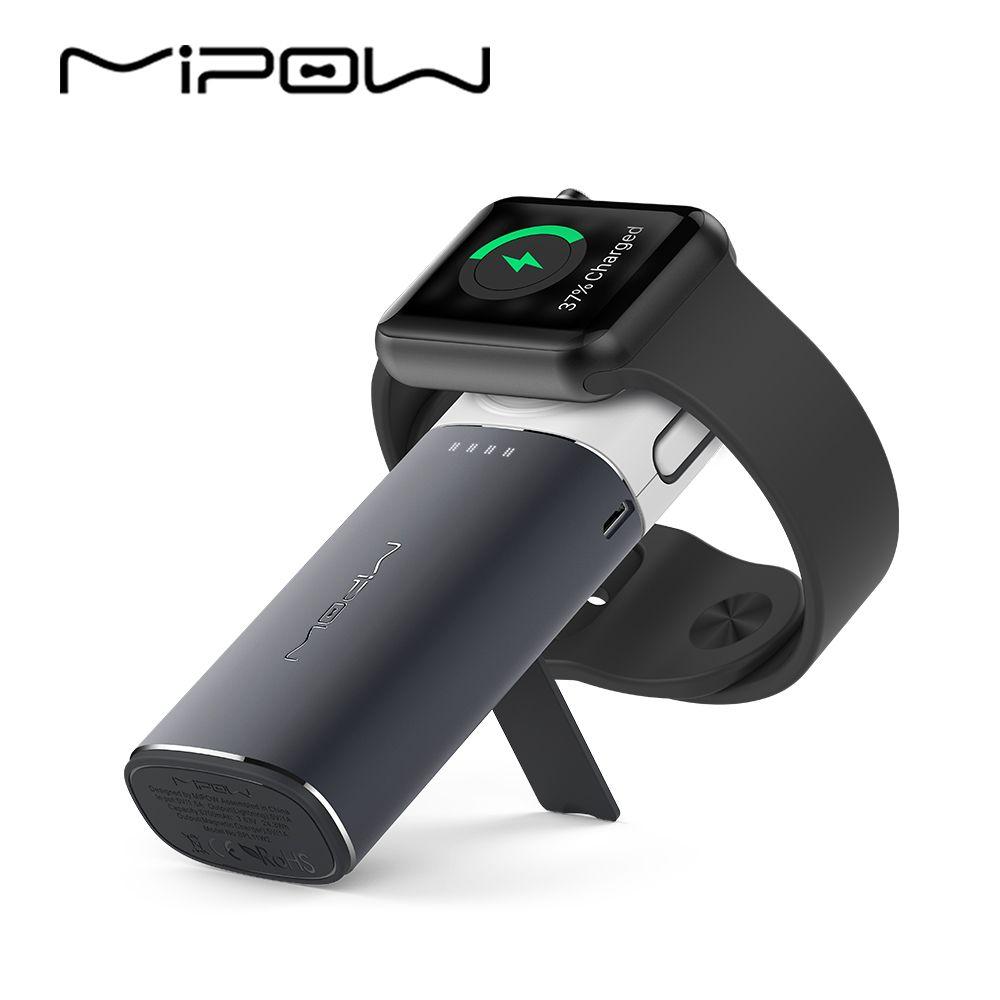MIPOW MFi Certifié Portable Magnétique Charging Dock Titulaire Stand Chargeur pour Apple Montre Builtin USB Câble iPhone 7/8 Puissance Banque