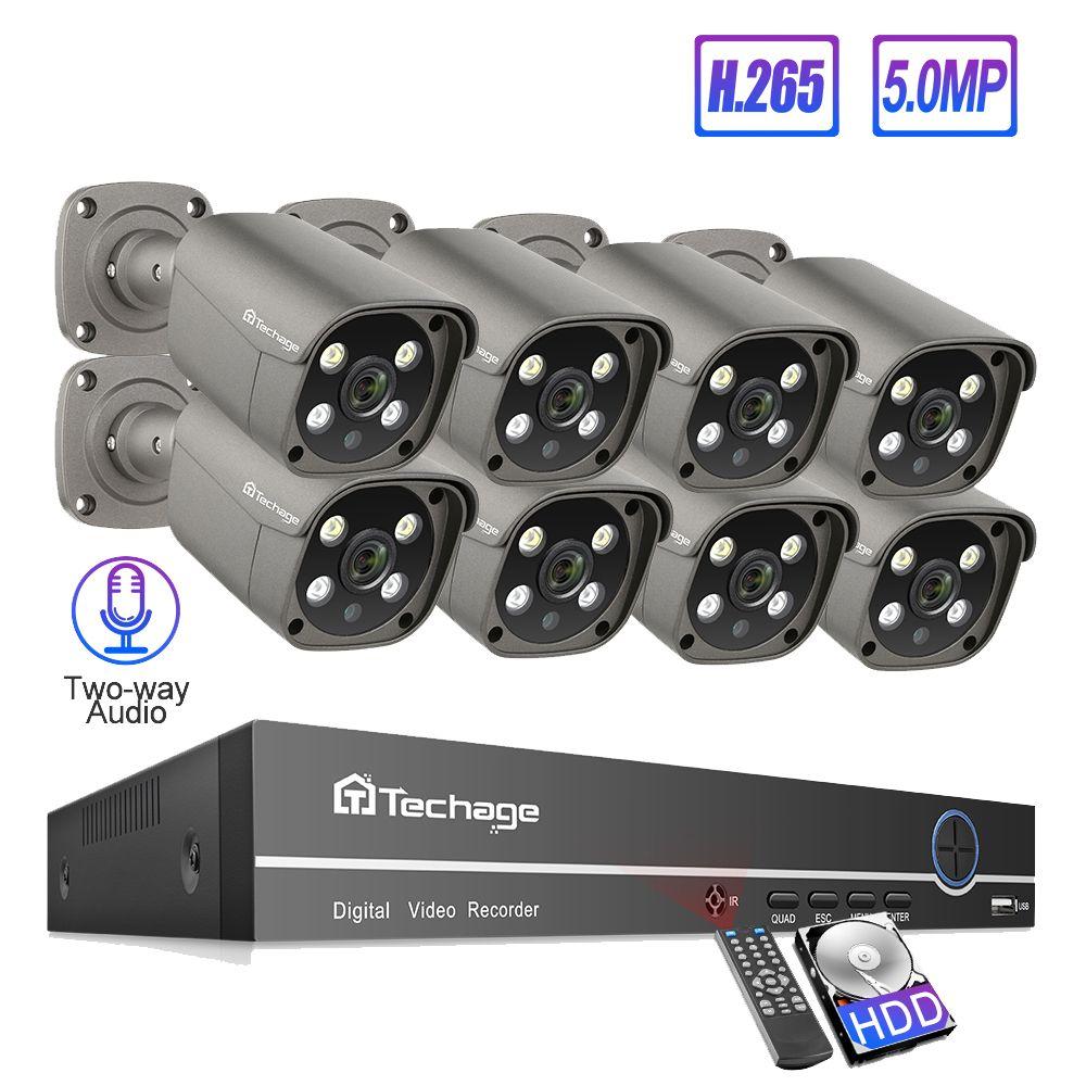 Techage 8CH 5MP POE NVR Sicherheit Kamera System H.265 Zwei-weg Audio Record IP Kamera Indoor Outdoor CCTV Video überwachung Kit