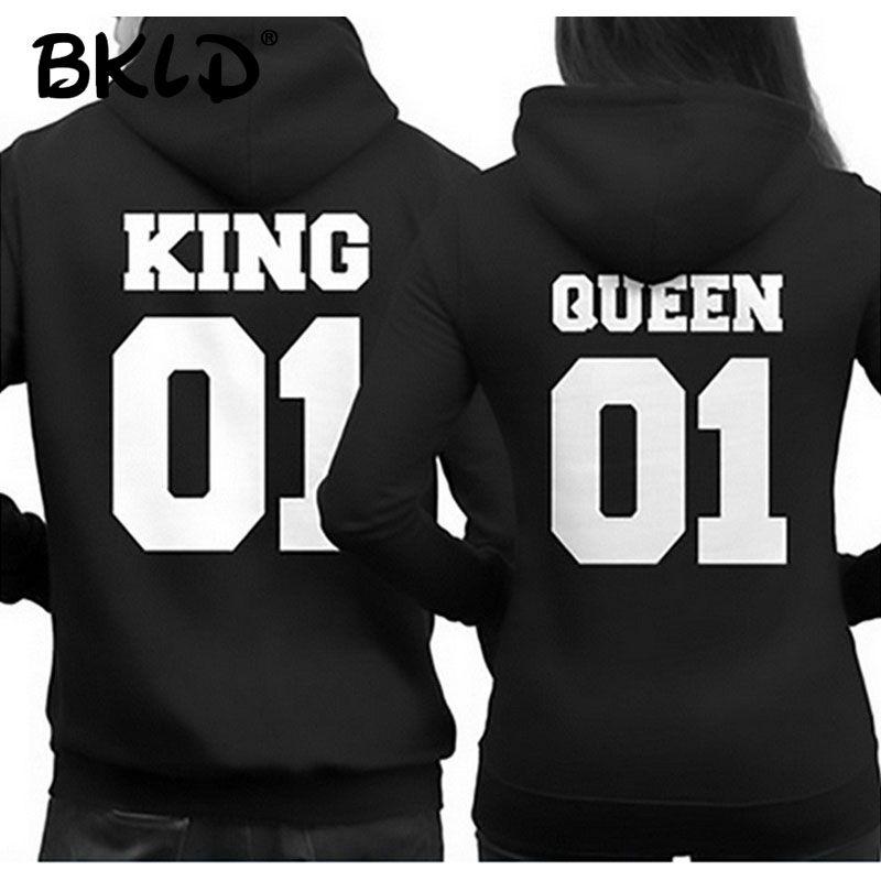 BKLD 2018 Fashion King Queen Hoodie <font><b>Couple</b></font> Pullover Sweatshirt Unisex Hoodies Causal Long Sleeve Crewneck Love Hoodies Men Women