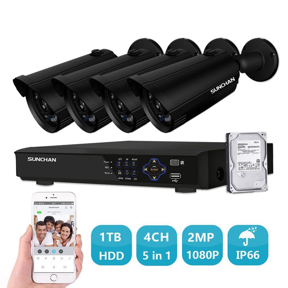 SUNCHAN 4CH 1080 p HDMI Hybrid DVR 4 stücke 2.0MP IR Outdoor Wetterfeste P2P CCTV AHD Sicherheit Kamera System Überwachung kit 1 tb