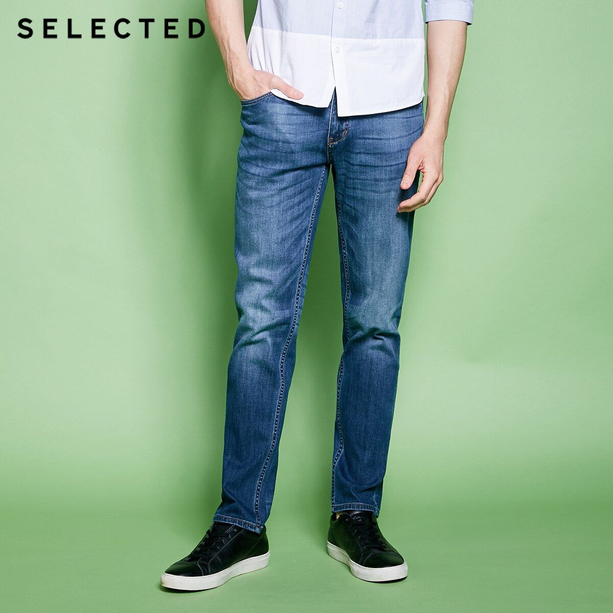 SELECTED Men's Cotton-blend Slight Stretch Whiskers Wash Effect Slim Fit Jeans C|418132525