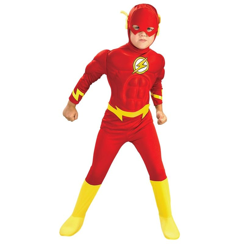 Hot Sale Boy The Flash Muscle Superhero Fancy Dress Kids Fantasy Comics Movie Carnival Party Halloween Cosplay Costumes