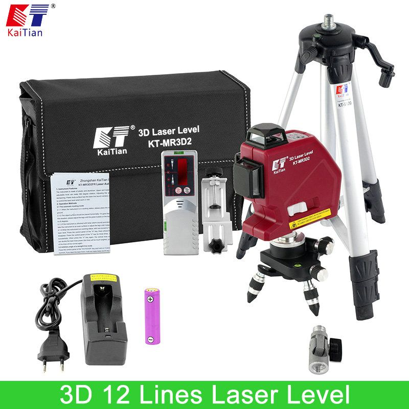 Kaitian New Outdoor Laser Level Tripod Battery Rotary Slash Function 635nm Self Leveling 3D 12 Lines Vertical Horizontal Lasers