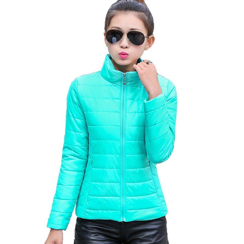 2018 women winter jacket <font><b>ultra</b></font> light candy color spring coat female short parka cotton outerwear jaqueta feminina