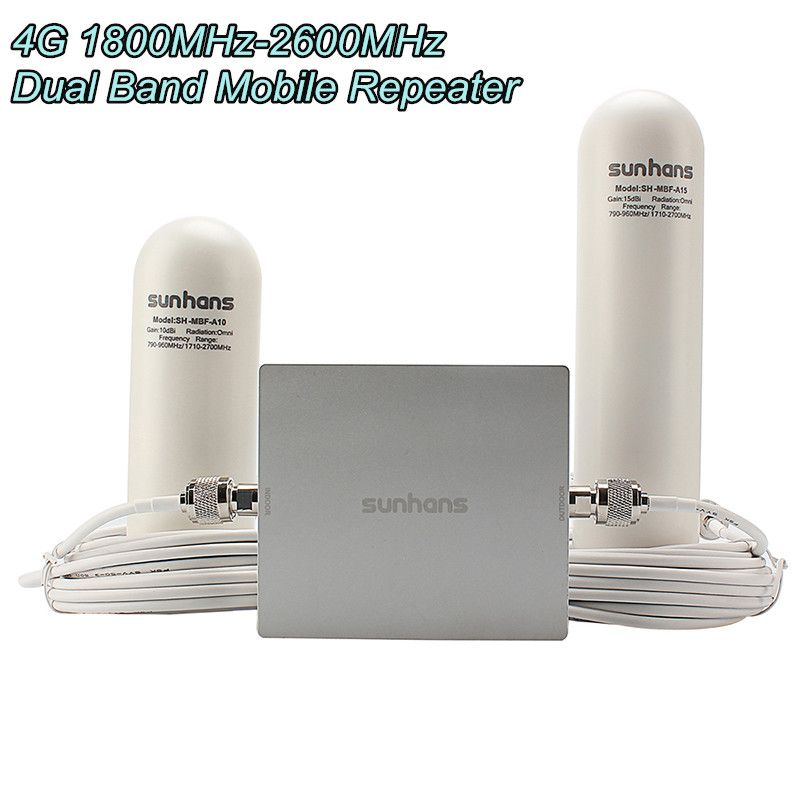 Original Sunhans SH-D18L26-D2 4G 1800MHz-2600MHz Dual Band Mobile Phone Glass steel antenna Repeater Signal Booster Amplifier