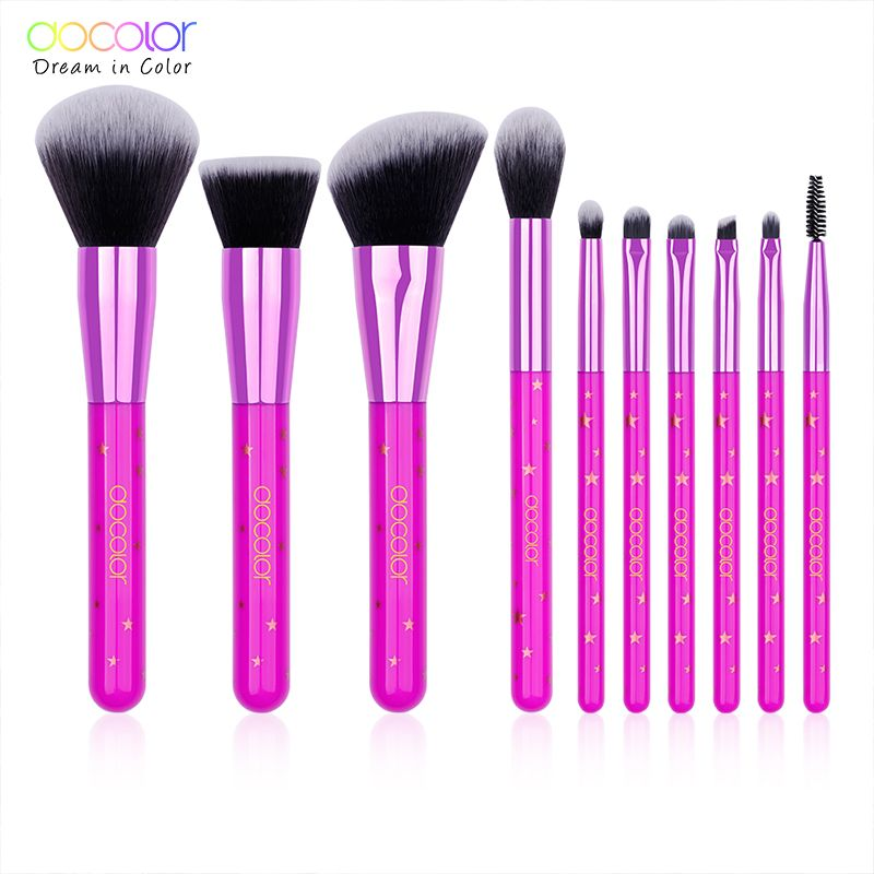 Docolor 10 PCS Makeup Brushes Plastic Make Up Brush Soft Synthetic Collection Kit with Powder Contour Eyeshadow Eyebrow Brushes