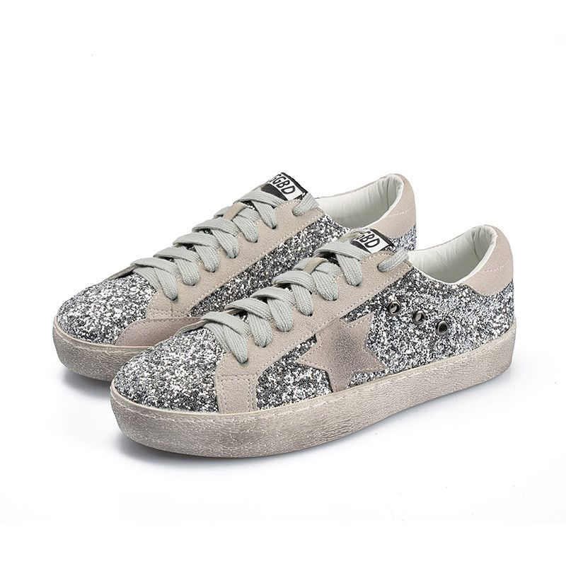 Fine <font><b>Zero</b></font> Women skateboarding Shoes Glitter Leather Do Old Dirty Sneakers Mixed Color Women Sequins Star Golden Fleeces trainers