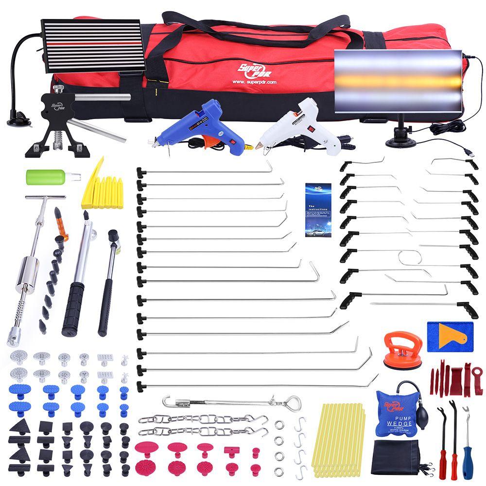 PDR Push Rod Hooks Crowbar Paintless Dent Repair Tools LED Light Reflector Board Slide hammer PDR Dent Removal tool kit