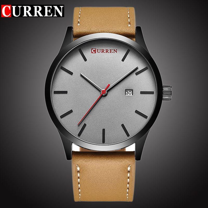 CURREN Top Brand Luxury Quartz watch <font><b>men's</b></font> Casual Leather Wrist watch Clock Male Business auto Date Waterproof New