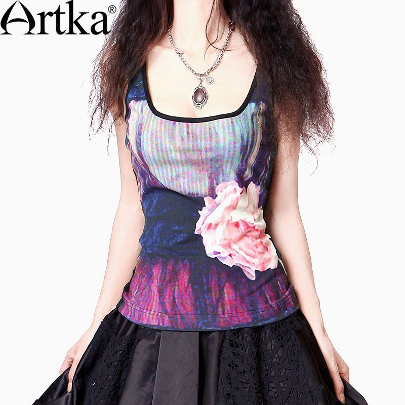 Artka Women'S Summer Fashion Colorful Style Loose O-Neck Short Sleeve Comfortable Cotton Digital Print Vest T-Shirt  A08862