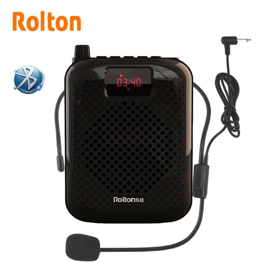 Rolton K500 Bluetooth Loudspeaker Microphone Voice Amplifier <font><b>Booster</b></font> Megaphone Speaker For Teaching Tour Guide Sales Promotion
