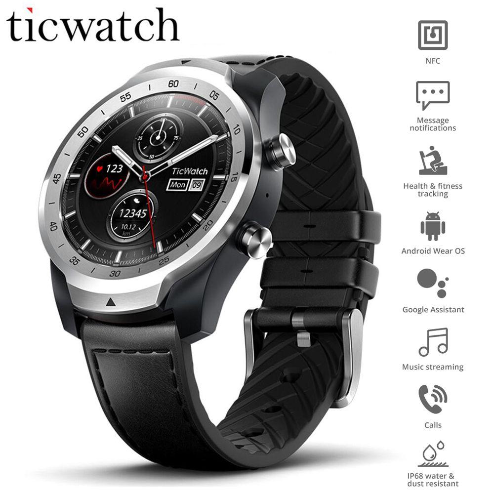 Original Globale Ticwatch Pro Tragen OS Smart Uhr NFC Google Zahlen Google Assistent IP68 Layered Display Lange Standby GPS Uhr