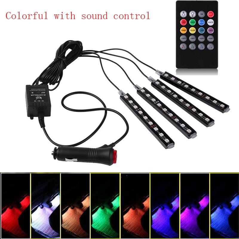 castaleca Wireless control Car Interior Atmosphere Neon Light Decorative LED Multi Color RGB Voice Sensor Sound Music Control