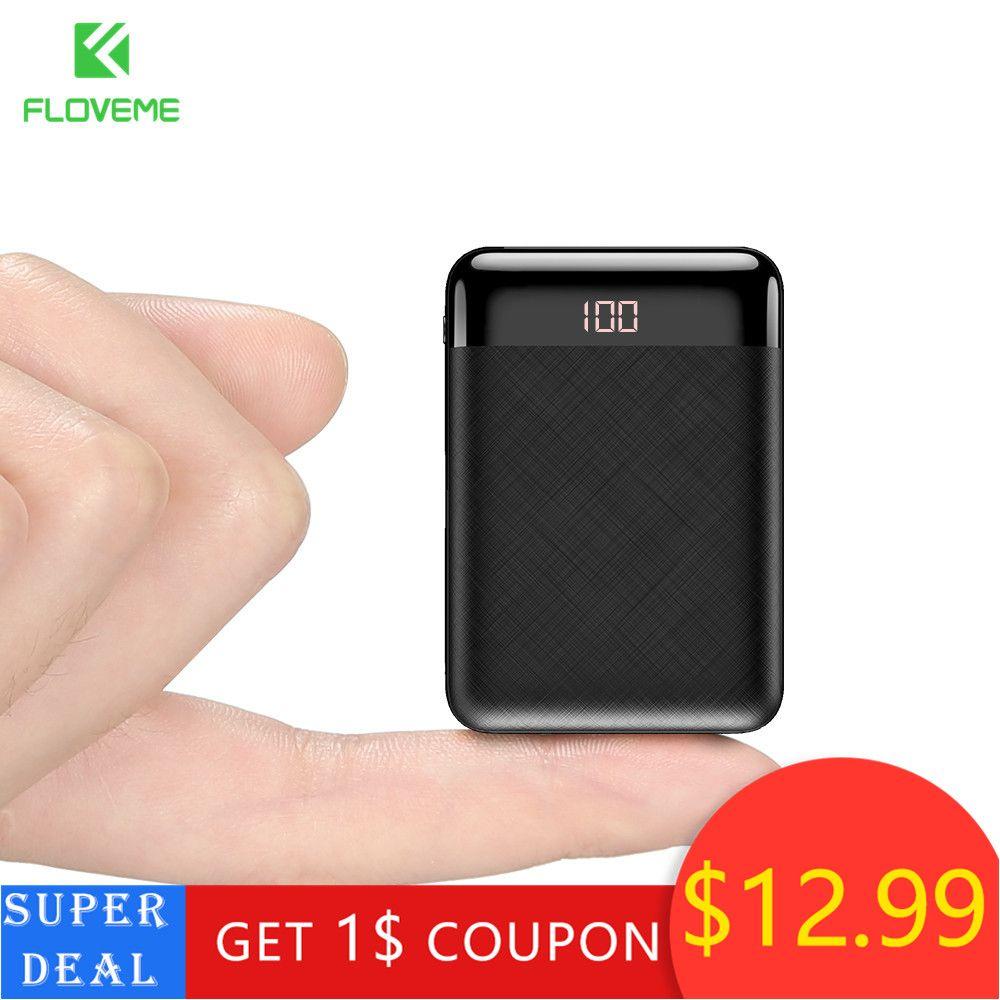FLOVEME Portable 10000 mAh batterie externe pour Xiaomi iphone double Ports Usb chargeur batterie externe Mini Powerbank pour téléphones mobiles