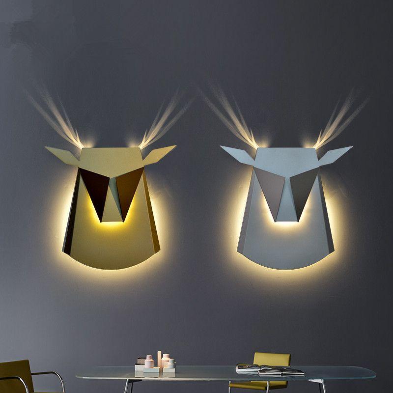 Modern Wall Lamps Deer Head LED Wall Sconce Study Bedroom Aisle Cafe Wall Light Fixtures abajur Indoor Lighting luminaria