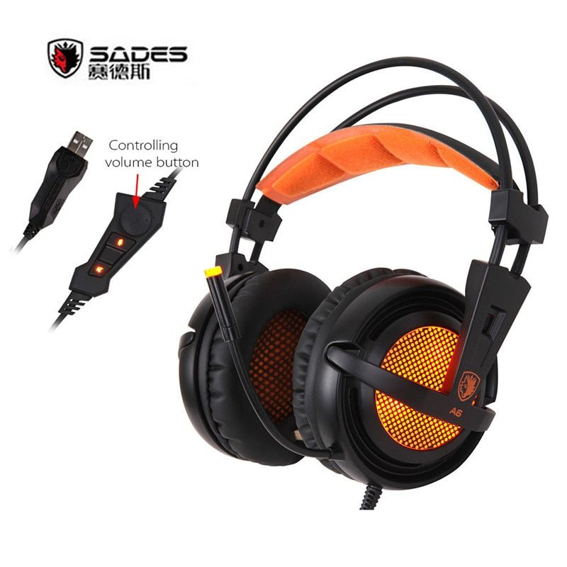 SADES A6 USB 7.1 Stereo gaming headphone casque Over Ear game headset with mic Voice control for laptop computer audifonos gamer
