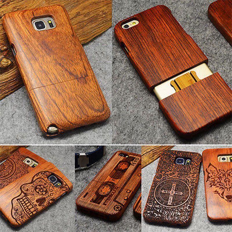 Naturel Bois étui pour samsung Galaxy S8 S9 Plus S7 Bord S5 S6 Note 9 4 8 100% À La Main En Bois Pour iPhone XS 5S SE X 7 8 6 6 S Plus