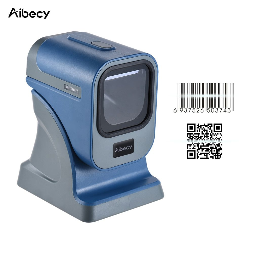 Aibecy High Speed Omnidirectional 1D/2D Presentaion Barcode Scanner Reader Platform High Speed with USB Cable for Stores Express