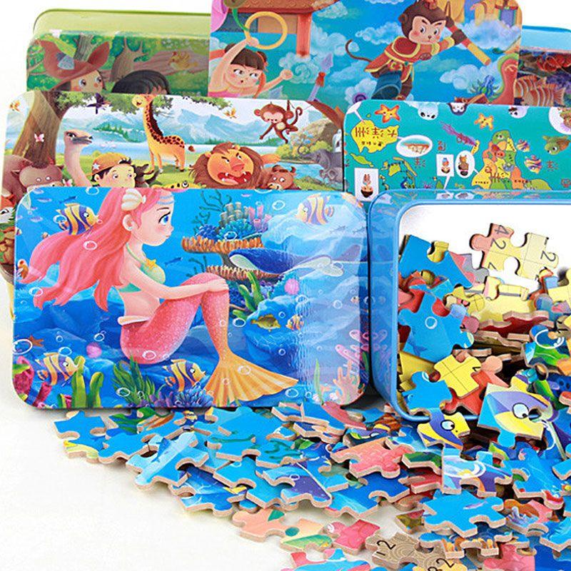 Jouets pour enfants 100 pièces bande dessinée puzzle fer boîte en bois jouets puzzles enfants éducation précoce bois jouet juguetes educativos