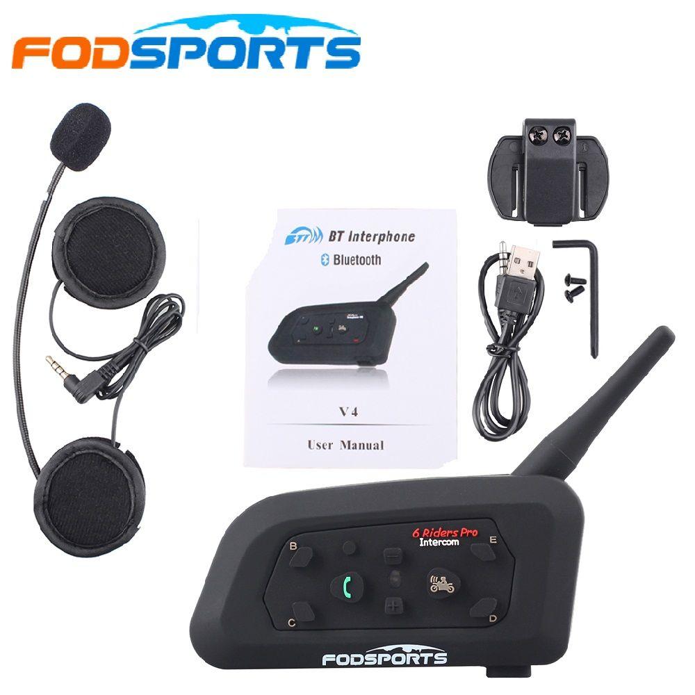 Metal clip+V6 Pro 6 Rider Motorcycle Helmet BT Interphone 1200 Wireless Bluetooth Interphone Headset Stereo music