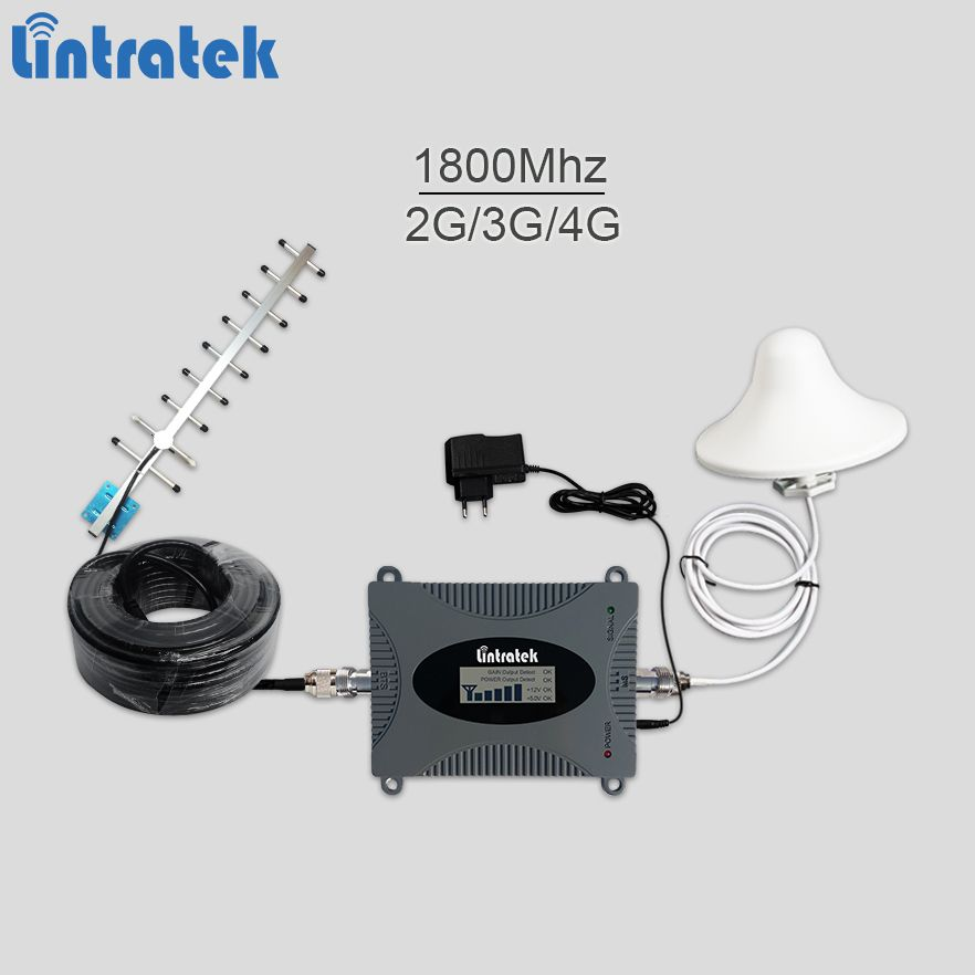 Lintratek booster 2g/3g/4g 1800Mhz mobile signal booster gsm umts lte 4g repeater for DCS 1800 amplifier full kit #7.6