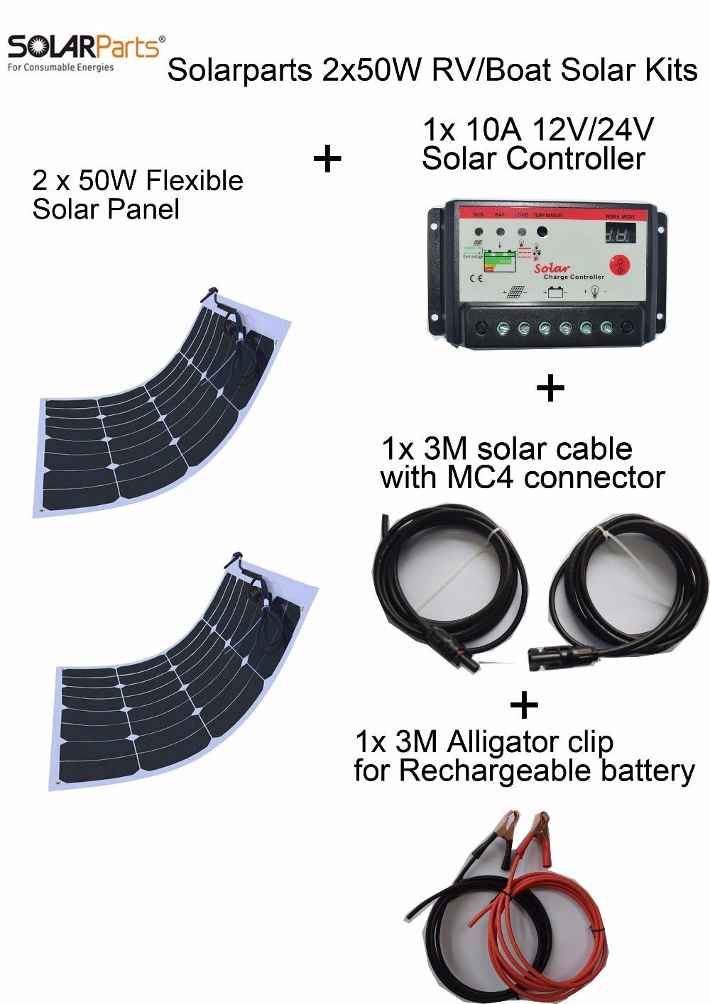 BOGUANG 2PCS 50W DIY solar system light weight flexible solar panel MONO solar modules 12V battery USB solar panel charger