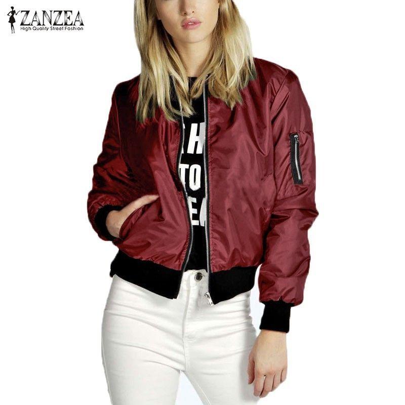 ZANZEA 2018 Spring Autumn Women Thin <font><b>Jacket</b></font> Tops Celeb Bomber Long Sleeve Coat Casual Stand Collar Slim Fit Outerwear Plus Size
