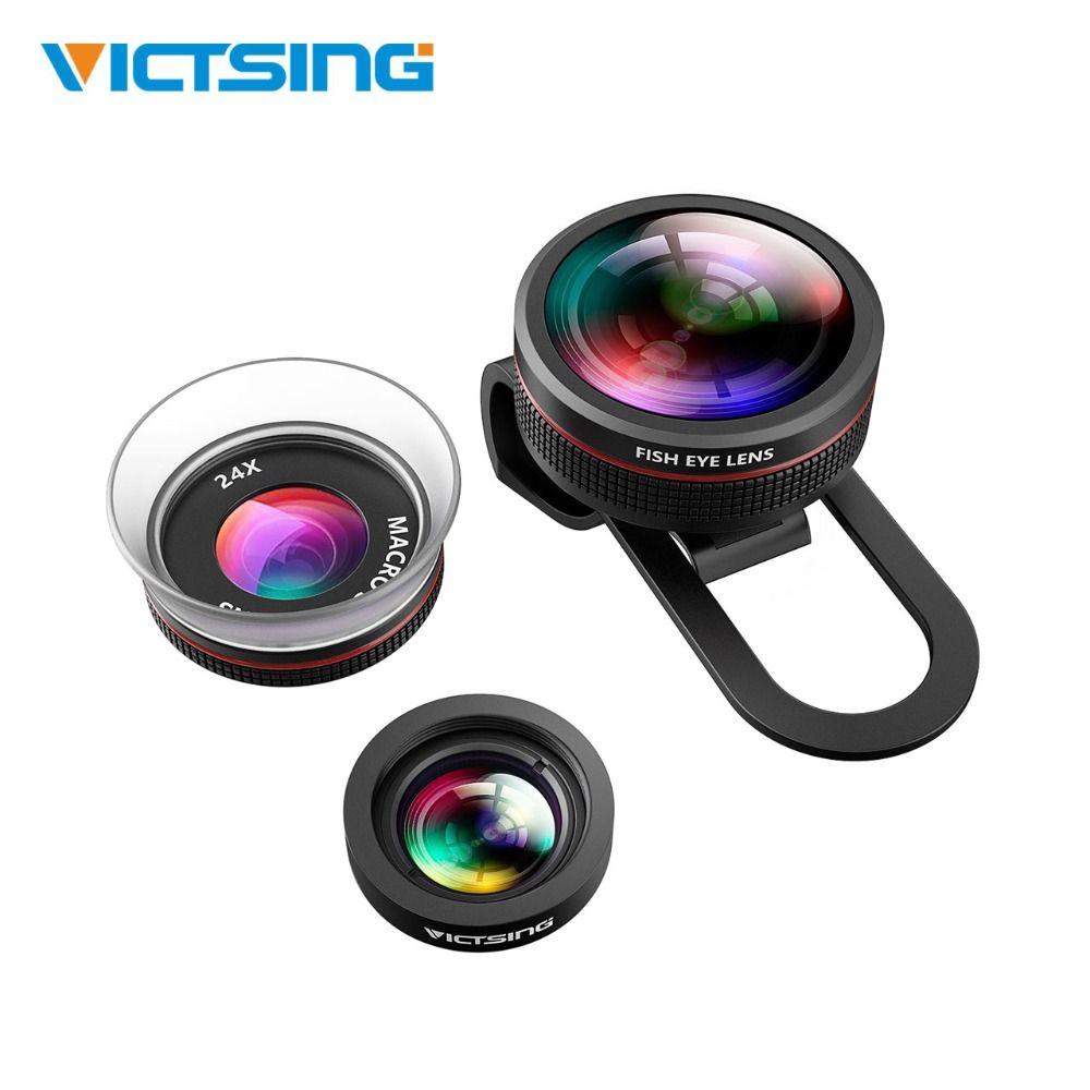VicTsing Clip-sur 3 dans 1 Kit Téléphone Appareil Photo Fisheye Lens & 12X Macro & 24X Super Macro lentille pour iPhone Samsung Huawei Xiaomi HTC