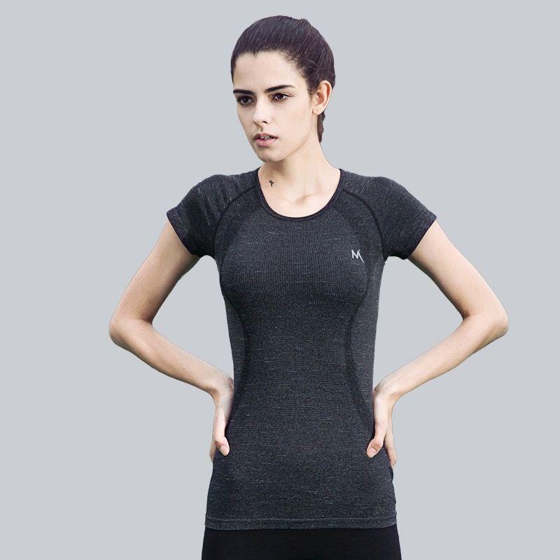 FLANDIS Camisa Deportiva de Manga Corta de Las Mujeres de Fitness Yoga Tops Gimnasio Jogging Running Tight T-shirt Chaleco de la Aptitud