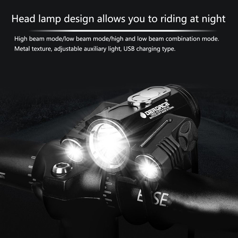 Adjustable High Light Bicycle Headlight USB Charging Lamp 3 Mode X3 T6 LED Bike Head Light Cycling Front Lamp New Style