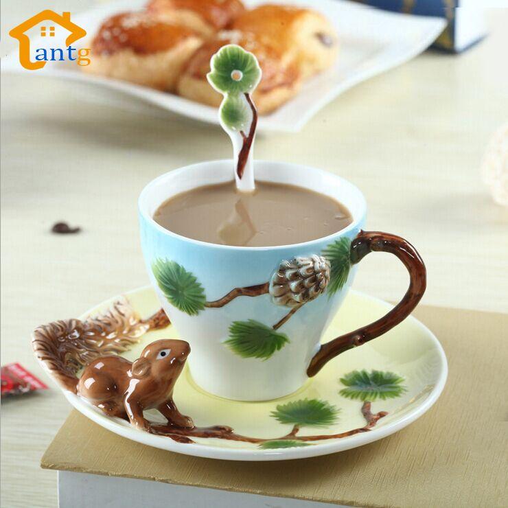 3D Ardilla Esmalte pintado a Mano Puro Taza de Café taza creativa individualidad Parejas tazas de café taza de té