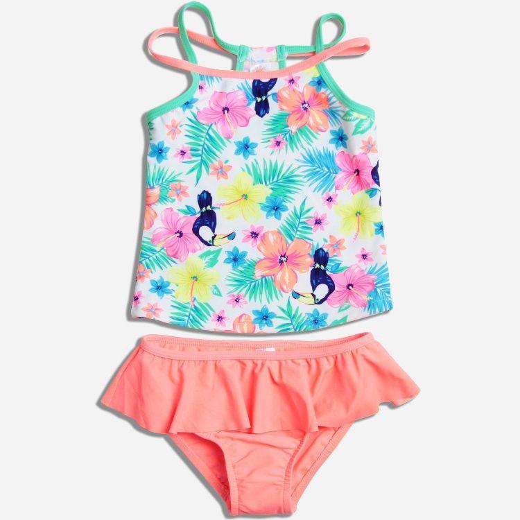 Schöne Blumen Baby Kinder Badeanzug Qualität Mädchen Bademode Jugendliche Zwei stücke Neue Heiße Vögel Kleinkind-bad Anzug Kinder Beachwear