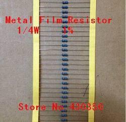 Бесплатная доставка 100 шт./лот 0,25 Вт Металл резистор +-1% 10 К Ом 10 К 4,7 К 2,2 К 1 К 100 К 1/4 Вт 1R--10M